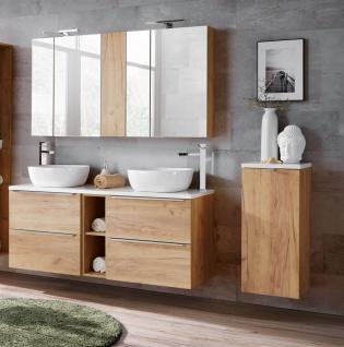 Badmöbel Set 10-tlg Badezimmerset PERUGIA Gold Eiche inkl.Waschbecken