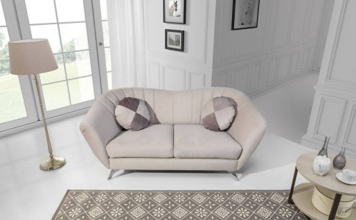 Sofa 2-Sitzer ELISABETH Polyesterstoff Hellbeige 190x85x90 cm