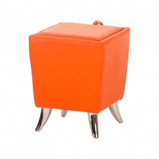 Sitzhocker - Ria - Hocker Schminkhocker Kunstleder Orange 36x36 cm