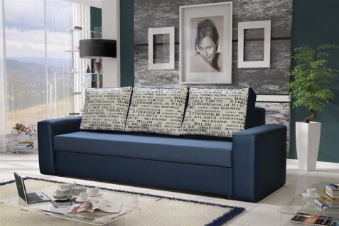 Sofa Designersofa LEEDS 3-Sitzer mit Schlaffunktion Blau