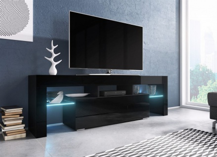 TV Board Lowboard TORIS Schwarz Hochglanz 138cm