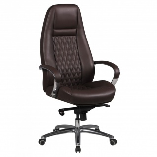 Drehstuhl Bürostuhl Chefsessel TEXAS -Echtleder Braun