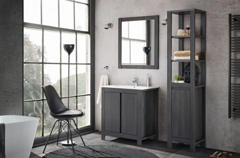 Badmöbel Set 3-tlg Badezimmerset KLASSIK Grau inkl.Waschtisch 80 cm