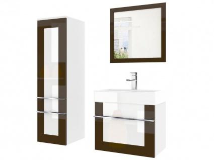 Badmöbel Set 3-tlg DAWINO Set.2 Kastanien-Weiss inkl.Waschtisch 50 cm