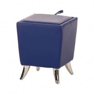 Sitzhocker - Ria - Hocker Schminkhocker Kunstleder Blau 36x36 cm