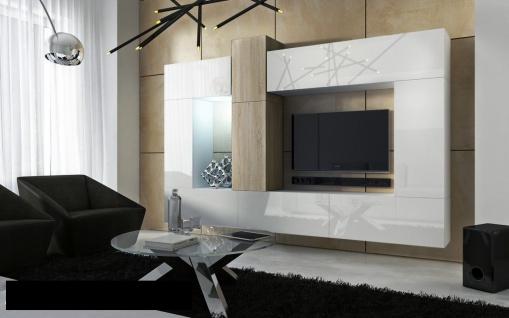 Mediawand Wohnwand 10 tlg - Konzept 22 - Weiss HGL/ Sonoma matt