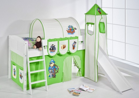 Spielbett mit Rutsche.Turm. Vorhang -LANDI/S -Pirat Grün -Kiefer Weiss