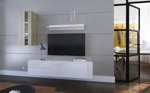 Mediawand Wohnwand 4 tlg - NEXI 7 - Weiss Hochglanz- Sonoma matt + LED