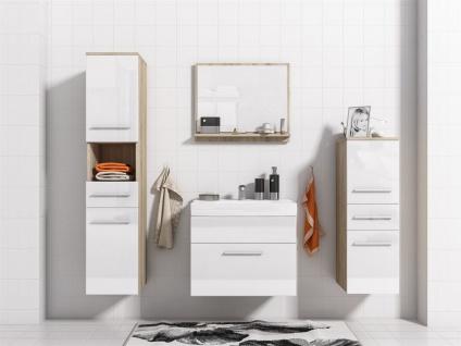 Badmöbel Set 5-Tlg Sonoma matt / Weiss HGL LIVO L inkl.Waschtisch - Vorschau 2