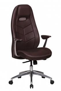 Drehstuhl Bürostuhl Chefsessel LAREDO -Echtleder Braun