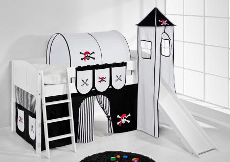 Spielbett mit Rutsche, Turm, Vorhang -LANDI/S -Pirat Schwarz-Kiefer Weiss