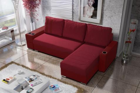Ecksofa Sofa KNOX XL mit Schlaffunktion Rot Ottomane Rechts