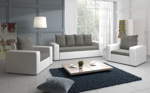 Sofa Set NINA 3-1-1 Sofagarnitur in Weiss / Grau