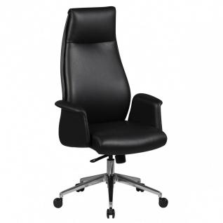 Drehstuhl Bürostuhl Chefsessel CORDOBA -Echtleder Schwarz