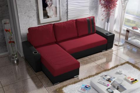 Ecksofa Sofa KNOX XS mit Schlaffunktion Schwarz/ Rot Ottomane Links