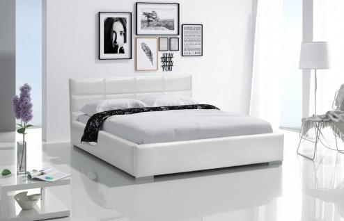 Polsterbett Bett Doppelbett KIAN Kunstleder Weiss 140x200cm