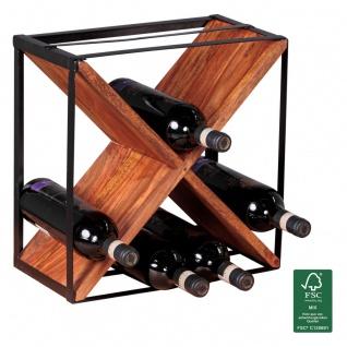 Weinregal Flaschenregal 37 cm für 16 Flaschen Massiv-Holz Sheesham