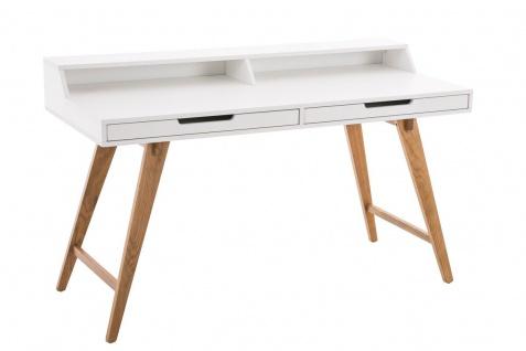 Schreibtisch Konsole Sekretär ADRIAN 140x85x60 cm Weiss-Eiche