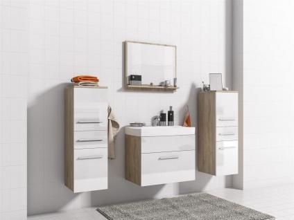 Badmöbel Set 5-Tlg Sonoma / Weiss Hochglanz LIVO XS inkl.Waschtisch