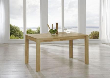 Esstisch ETHAN Tisch 140x80 Eiche massiv /Fuß 80x80 mm