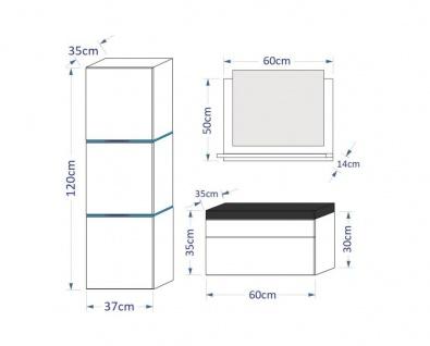 Badmöbel Set 4-Tlg Schwarz HGL LOBOS XS inkl.60 cm Waschtisch und LED - Vorschau 2