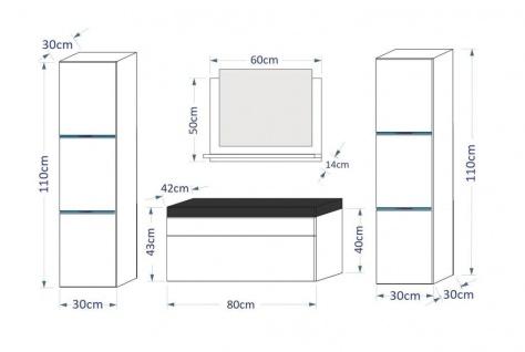 Badmöbel Set 5-Tlg Schwarz HGL DREAM XL inkl.80 cm Waschtisch und LED - Vorschau 3