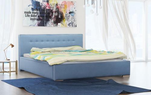 Polsterbett Bett Doppelbett DEVIN Polyesterstoff Hellblau 180x200cm