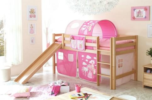 Hochbett ROBI mit Rutsche Buche Natur + Vorhang Prinzessin/ Pink