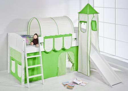 Spielbett mit Rutsche, Turm, Vorhang -LANDI/S -Grün Beige -Kiefer Weiss