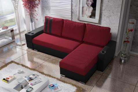 Ecksofa Sofa KNOX XL mit Schlaffunktion Schwarz/ Rot Ottomane Rechts
