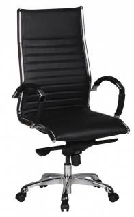 Drehstuhl Bürostuhl Chefsessel WIEN -Echtleder Schwarz