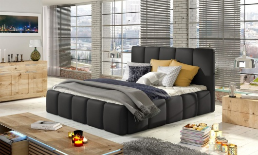 Polsterbett Doppelbett VERONA Set 1 Kunstleder Schwarz 180x200cm