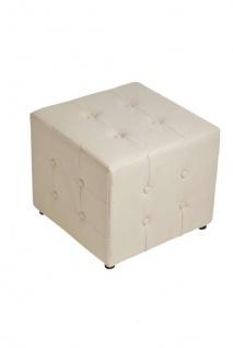 Sitzwürfel Sitzhocker - Cosimo - Hocker : Kunstleder Creme 44x44 cm