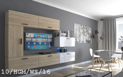 Mediawand Wohnwand 7 tlg - Bedox 3 -Sonoma matt- Weiss HGL Nr.1 +LED