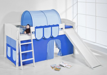 Spielbett mit Rutsche -LANDI/R -Blau Hellblau-Kiefer Weiss-mit Vorhang