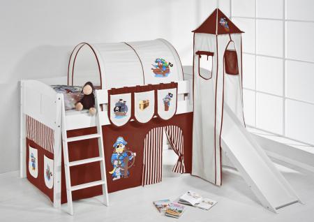 Spielbett mit Rutsche, Turm, Vorhang -LANDI/S -Pirat Braun-Kiefer Weiss