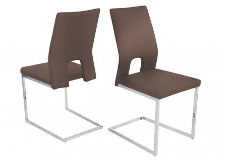 Esszimmerstühle Stühle Freischwinger 4er Set LAURO Kunstleder Cappuccino