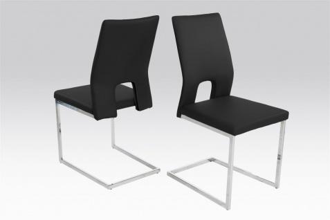 Esszimmerstühle Stühle Freischwinger 4er Set LAURO Kunstleder Schwarz