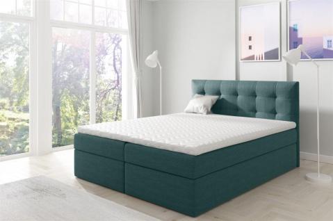 Boxspringbett Schlafzimmerbett OVIEDO 120x200cm Stoff Meeresgrün
