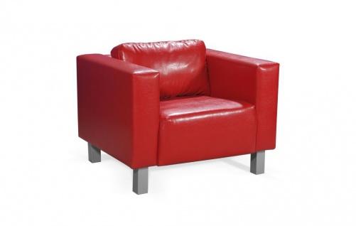 Sessel Clubsessel MAILAND in Kunstleder Rot