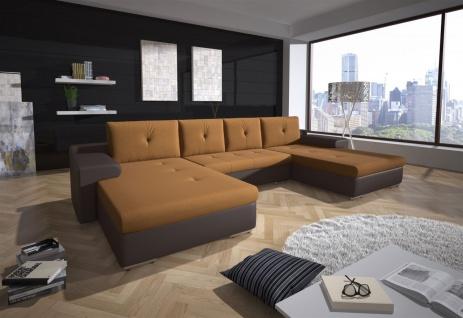 Couchgarnitur FLORENZ U-Form mit Schlaffunktion Grau / Honig