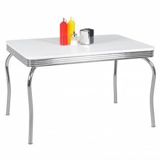 Esstisch Bistro -Tisch DREAM 120x80 cm in Dekor Weiss / Chrom