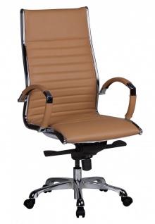 Drehstuhl Bürostuhl Chefsessel WIEN -Echtleder Caramel