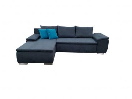 Ecksofa Sofa MIRENA mit Schlaffunktion Marineblau Ottomane Links