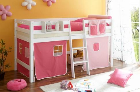 Hochbett Spielbett TORBI -Buche Weiss +Vorhang Rosa-Pink