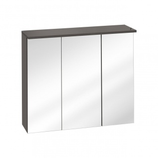 Badezimmer Spiegelschrank 80cm LAXY Grau Hochglanz inkl.LED