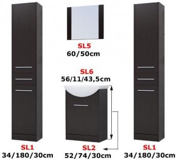 Badmöbel Set 5-Tlg Weiss / Schwarz HGL SEVILLA XL inkl.Waschtisch - Vorschau 5