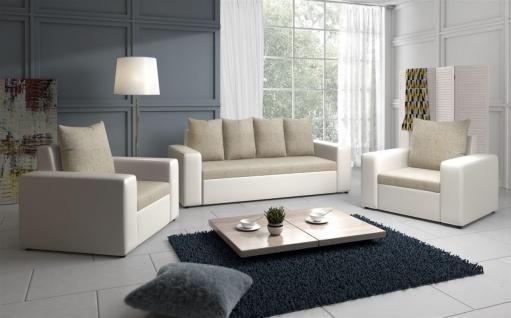 Sofa Set NINA 3-1-1 Sofagarnitur in Weiss / Beige