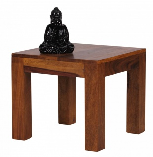 Couchtisch Massivholztisch AMAR 45x45cm Holz Sheesham Landhaus-Stil