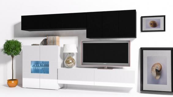 Mediawand Wohnwand 8 tlg - Konzept 16 - Weiss / Schwarz Hochglanz +LED